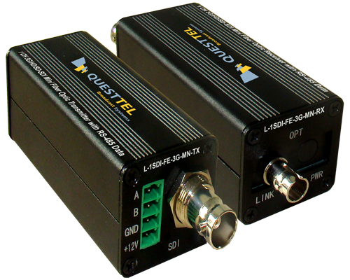 1 Channel 3G/HD/SD-SDI Over Fiber Extender Mini Kit with RS485 Data