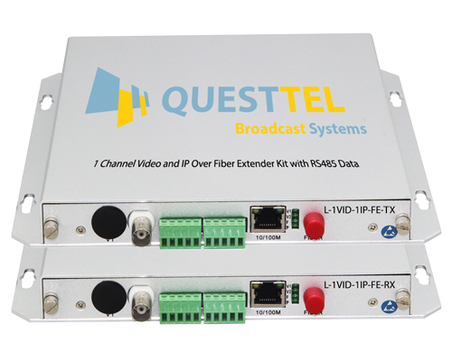 1 Channel Video and IP Over Fiber Extender Kit with RS485 Data