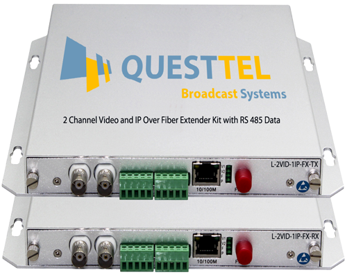 2 Channel Video and IP Over Fiber Extender Kit with RS485 Data