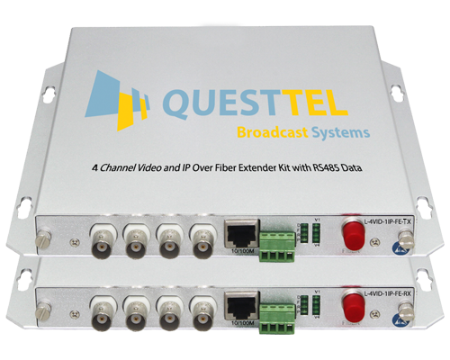 4 Channel Video and IP Over Fiber Extender Kit with RS485 Data