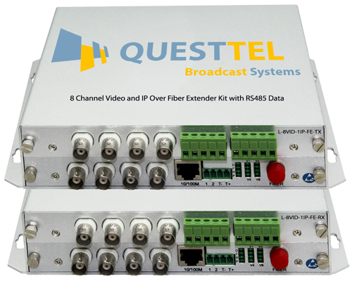 8 Channel Video and IP Over Fiber Extender Kit with RS485 Data