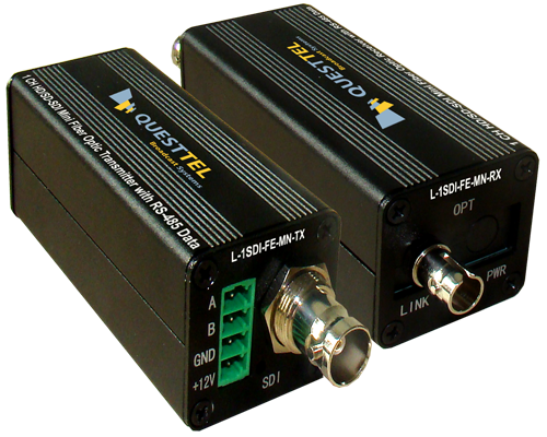 1 Channel HD/SD-SDI Over Fiber Extender Mini Kit with RS485 Data Channel